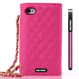 Apple Iphone 4 4S Case Pu Leather Diamond Wire Lattice Hand Stitching Wallet Protective Case For Apple Iphone 4 4S(Rose Pink)