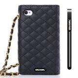 Apple Iphone 4 4S Case Pu Leather Diamond Wire Lattice Hand Stitching Wallet Protective Case For Apple Iphone 4 4S(Black)