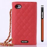 Apple Iphone 4 4S Case Pu Leather Diamond Wire Lattice Hand Stitching Wallet Protective Case For Apple Iphone 4 4S(Red)