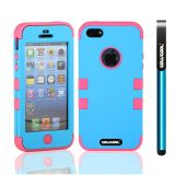 Apple Iphone 5 5S Case Silicone With Hard Pc Double Color 3in1 Hybrid High Impact Protective Case For Apple Iphone 5 5S(Sky Blue with Pink)