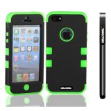 Apple Iphone 5 5S Case Silicone With Hard Pc Double Color 3in1 Hybrid High Impact Protective Case For Apple Iphone 5 5S(Black with Light Green)