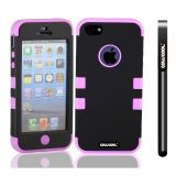Apple Iphone 5 5S Case Silicone With Hard Pc Double Color 3in1 Hybrid High Impact Protective Case For Apple Iphone 5 5S(Black with Pink)