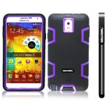 Samsung Note 3 Case Silicone With Hard Pc Double Color 3in1 Hybrid High Impact Protective Case For Samsung Note 3(Black with Purple)