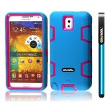 Samsung Note 3 Case Silicone With Hard Pc Double Color 3in1 Hybrid High Impact Protective Case For Samsung Note 3(Sky Blue with Rose Pink)