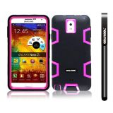 Samsung Note 3 Case Silicone With Hard Pc Double Color 3in1 Hybrid High Impact Protective Case For Samsung Note 3(Black with Pink)