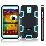 Samsung Note 3 Case Silicone With Hard Pc Double Color 3in1 Hybrid High Impact Protective Case For Samsung Note 3(Black with Light Green)