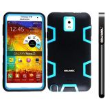 Samsung Note 3 Case Silicone With Hard Pc Double Color 3in1 Hybrid High Impact Protective Case For Samsung Note 3(Black with Sky Blue)