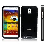 Samsung Note 3 Case Silicone With Hard Pc Double Color 3in1 Hybrid High Impact Protective Case For Samsung Note 3(Black with Black)