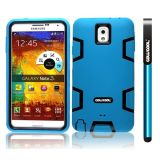 Samsung Note 3 Case Silicone With Hard Pc Double Color 3in1 Hybrid High Impact Protective Case For Samsung Note 3(Sky Blue with Black)