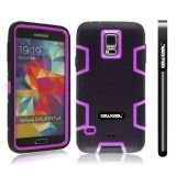 Samsung N9600 Galaxys5 Case Silicone With Hard Pc Double Color 2in1 Hybrid High Impact Protective Case For Samsung N9600 Galaxys5(Black with Purple)