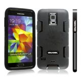 Samsung N9600 Galaxys5 Case Silicone With Hard Pc Double Color 2in1 Hybrid High Impact Protective Case For Samsung N9600 Galaxys5(Black with Black)