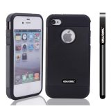 Apple Iphone 4 4S Case Tpu With Pc Double Color 2in1 Hybrid High Impact Protective Case For Apple Iphone 5 5S(Black)