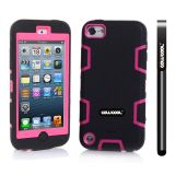Apple Itouch5 Case Silicone With Hard Pc Double Color 2in1 Hybrid High Impact Protective Case For Apple Itouch5(Black with Pink)