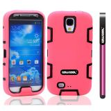 Apple Iphone 4 4S Case Silicone With Hard Pc Double Color 2in1 Hybrid High Impact Protective Case For Apple Iphone 4 4S(Pink with Black)