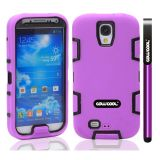 Apple Iphone 4 4S Case Silicone With Hard Pc Double Color 2in1 Hybrid High Impact Protective Case For Apple Iphone 4 4S(Purple with Black)