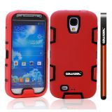 Apple Iphone 4 4S Case Silicone With Hard Pc Double Color 2in1 Hybrid High Impact Protective Case For Apple Iphone 4 4S(Red with Black)