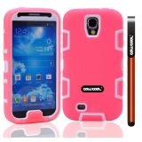 Apple Iphone 4 4S Case Silicone With Hard Pc Double Color 2in1 Hybrid High Impact Protective Case For Apple Iphone 4 4S(Pink with White)