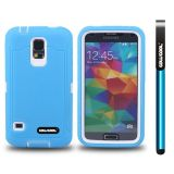 Samsung N9600 Galaxys5 Case Silicone With Hard Pc Tilt The Grid Texture 2in1 Hybrid High Impact Protective Case For(Sky Blue)