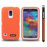 Samsung N9600 Galaxys5 Case Silicone With Hard Pc Tilt The Grid Texture 2in1 Hybrid High Impact Protective Case For(Orange)