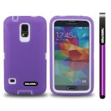 Samsung N9600 Galaxys5 Case Silicone With Hard Pc Tilt The Grid Texture 2in1 Hybrid High Impact Protective Case For(Purple)