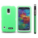 Samsung N9600 Galaxys5 Case Silicone With Hard Pc Tilt The Grid Texture 2in1 Hybrid High Impact Protective Case For(Green)