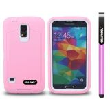 Samsung N9600 Galaxys5 Case Silicone With Hard Pc Tilt The Grid Texture 2in1 Hybrid High Impact Protective Case For(Pink)