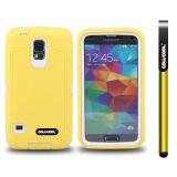Samsung N9600 Galaxys5 Case Silicone With Hard Pc Tilt The Grid Texture 2in1 Hybrid High Impact Protective Case For(Yellow)