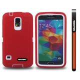 Samsung N9600 Galaxys5 Case Silicone With Hard Pc Tilt The Grid Texture 2in1 Hybrid High Impact Protective Case For(Red)