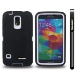 Samsung N9600 Galaxys5 Case Silicone With Hard Pc Tilt The Grid Texture 2in1 Hybrid High Impact Protective Case For(Black)