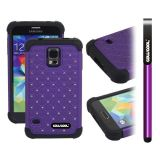 Samsung N9600 Galaxys5 Case Silicone With Hard Pc Starry Sky Pattern Glitter Studded Diamond 3in1 Hybrid High Impact Protective Case For(Purple)
