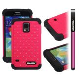 Samsung N9600 Galaxys5 Case Silicone With Hard Pc Starry Sky Pattern Glitter Studded Diamond 3in1 Hybrid High Impact Protective Case For(Rose Pink)