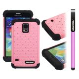 Samsung N9600 Galaxys5 Case Silicone With Hard Pc Starry Sky Pattern Glitter Studded Diamond 3in1 Hybrid High Impact Protective Case For(Pink)