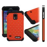 Samsung N9600 Galaxys5 Case Silicone With Hard Pc Starry Sky Pattern Glitter Studded Diamond 3in1 Hybrid High Impact Protective Case For(Orange)