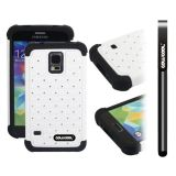Samsung N9600 Galaxys5 Case Silicone With Hard Pc Starry Sky Pattern Glitter Studded Diamond 3in1 Hybrid High Impact Protective Case For(White)