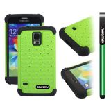 Samsung N9600 Galaxys5 Case Silicone With Hard Pc Starry Sky Pattern Glitter Studded Diamond 3in1 Hybrid High Impact Protective Case For(Green)