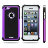 Apple Iphone 5C Case Silicone With Hard Pc Football Texture 2in1 Hybrid High Impact Protective Case For Apple Iphone 5C(Purple)