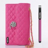 Apple Iphone 5 5S Case Pu Leather Diamond Wire Lattice Hand Stitching Wallet Kickstand Credit Card Holder Protective Case For Apple Iphone 5 5S(Rose Pink)