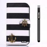 Apple Iphone 4 4S Case Pu Leather Stripe Ladder Hand Stitching Wallet Kickstand Credit Card Holder Protective Case For Apple Iphone 4 4S(Black with White)