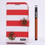 Apple Iphone 4 4S Case Pu Leather Stripe Ladder Hand Stitching Wallet Kickstand Credit Card Holder Protective Case For Apple Iphone 4 4S(Red with White)