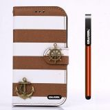 Apple Iphone 4 4S Case Pu Leather Stripe Ladder Hand Stitching Wallet Kickstand Credit Card Holder Protective Case For Apple Iphone 4 4S(Brown with White)