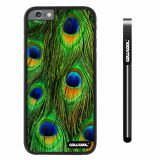 Apple iphone 6 4.7 inch Case Hard PC Colorful peacocks feathers Black Shell Single Layer Protective Case (8)