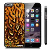 Apple Iphone 6 Plus 5.5 Inch Case Hard PC Colorful feathers Black Shell Single Layer Protective Case (12)