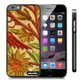 Apple Iphone 6 Plus 5.5 Inch Case Hard Golden Flower Black Shell Single Layer Protective Case (Style2)